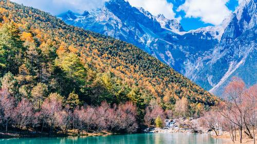 中国云南丽江玉龙雪山蓝月谷风光