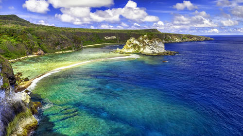 The tropical island of Saipan. The island called Bird.