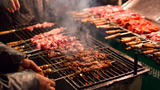 Roasted mutton on the night market of the Muslim Street,Xian City,China