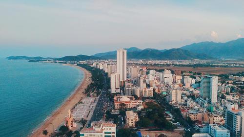 Southeast Asia, Vietnam, Nha Trang tropical coastal resort scenery
