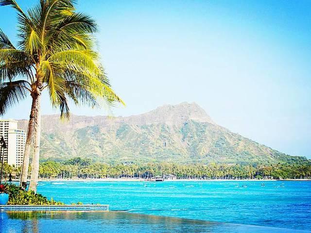 <夏威夷小环岛-半日游>威基基海滩、钻石头火山口、天然海泉喷口、白沙滩滑浪中心、大风口古战场