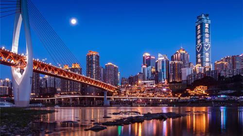 重庆市千厮门大桥和洪崖洞夜景