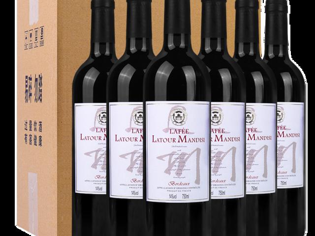【超市红酒】法国原瓶进口整箱红酒拉图曼蒂斯拉斐干红葡萄酒750ml*6瓶
