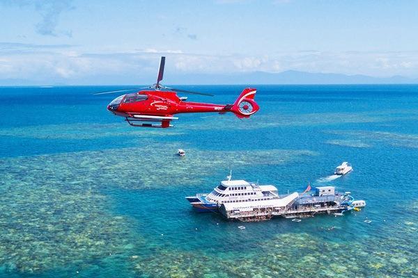 <凯恩斯太阳恋人号摩尔大堡礁一日游>直升机、玻璃底船、深潜等,花式玩转大堡礁